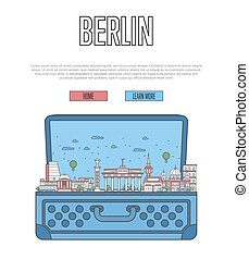 Berlin city poster with open suitcase - Berlin city poster...