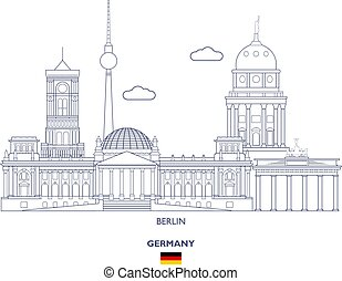 Berlin City Skyline, Germany - Berlin Linear City Skyline,...