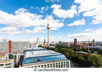 Berlin city skyline with Red City Hall - travel to Germany -...