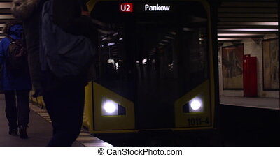 Berlin City subway train arriving in Germany slow motion 4k