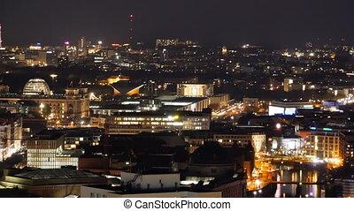 berlin cityscape at night aerial - berlin cityscape skyline...