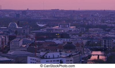 berlin cityscape at sunset dusk - berlin cityscape skyline...