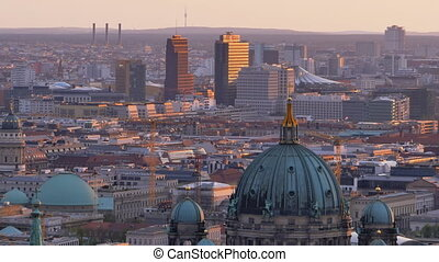 berlin cityscape at the sunset