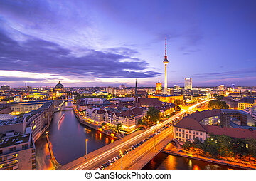 Berlin Cityscape - Berlin, Germany viewed from above the...