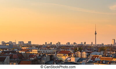 berlin cityscape sunset timelapse