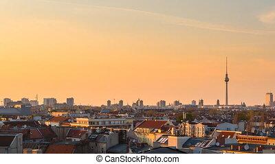 berlin, cityscape, timelapse, coucher soleil