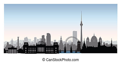 Berlin cityscape with landmarks. City urban landscape with buildings. Travel Germany skyline background.
