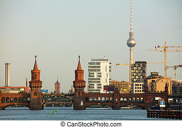 Berlin cityscape with Oberbaum bridge in the morning