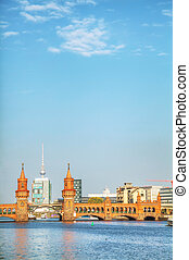 Berlin cityscape with Oberbaum bridge on a sunny day