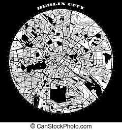 Berlin Compass Design Map Artprint, Vector Outline Version, ...