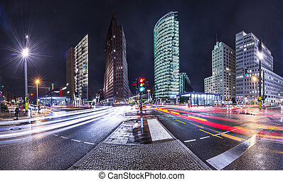 The financial district of Berlin, Germany known as Potsdamer Platz.