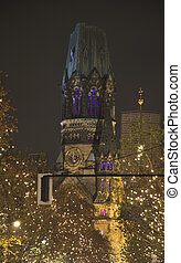 berlin gedaechtniskirche with christmas lighting at night