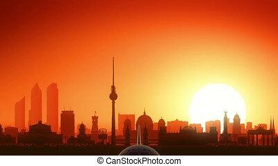 Berlin Germany Airplane Take Off Skyline Golden Background