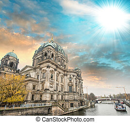 Berlin, Germany. Beautiful view of Cathedral along Spree river. Berliner Dom.