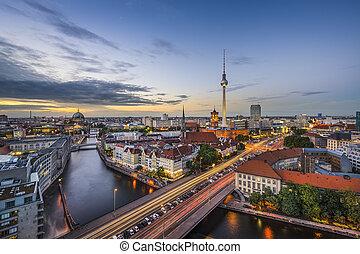 Berlin, Germany city skyline at dusk.
