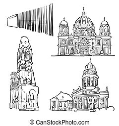 Berlin Germany Famous Buildings, Monochrome Outlined Travel...
