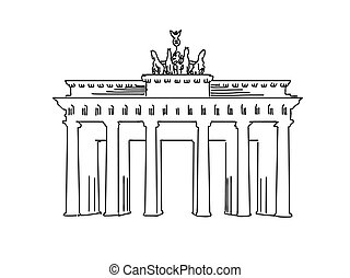 Berlin, Germany famous Travel Sketch. Lineart drawing by...
