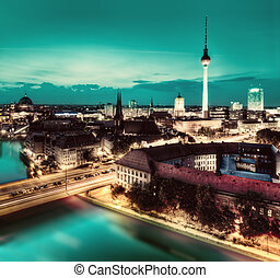 Berlin, Germany major landmarks at night