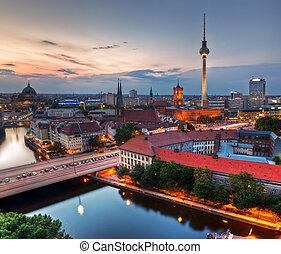 Berlin, Germany major landmarks at sunset - Berlin, Germany...