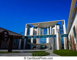 BERLIN, GERMANY - MARCH 18, 2015: German Chancellery (Bundeskanzleramt) is a federal agency serving the executive office of the Chancellor in Berlin, Germany.