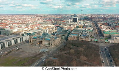 Berlin Brandenburg Gate and Reichstag panorama. Aerial view.