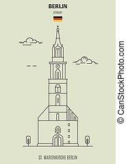 berlin, germany., marienkirche, repère, icône, rue.