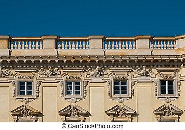 Restored historic building facade of the Berliner Stadtschloss ( City Palace ) / Humboldt Forum in Berlin, Germany