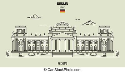 berlin, germany., reichstag, repère, icône