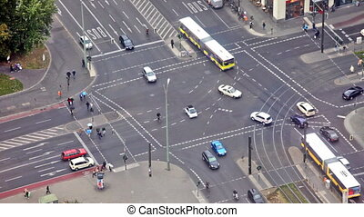 BERLIN, GERMANY - SEPTEMBER 23: The intersection with a brisk traffic in Berlin, Germany, September 23, 2012. View from a television tower.
