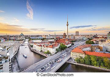 Berlin, Germany skyline on the Spree River.