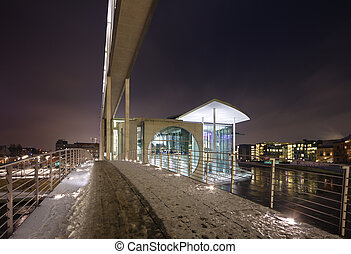 Berlin Government District At Night - Modern architecture in...
