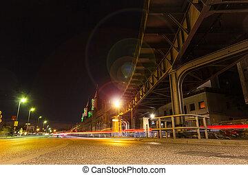 Berlin Kreuzberg at night , Oberbaum bridge - Berlin...
