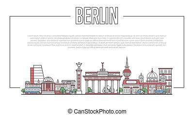 Berlin landmark panorama in linear style - Berlin city...