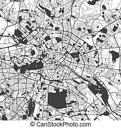 Berlin Monochrome Map Artprint, Vector Outline Version,...