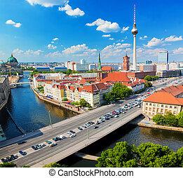berlin, németország, kilátás, képben látható, őrnagy,...