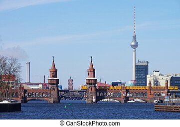 Berlin Oberbaumbridge and television tower