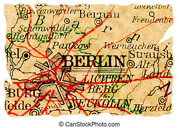 Berlin, Germany on an old torn map from 1949, isolated. Part of the old map series.