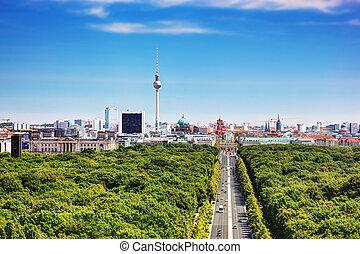 Berlin panorama. Berlin TV Tower and major landmarks -...