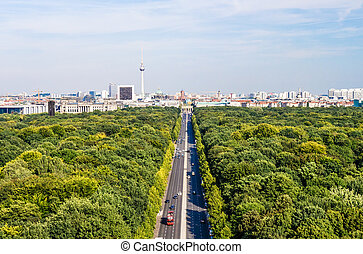 berlin panorama, tiergarten, tv tower, brandenburger tor