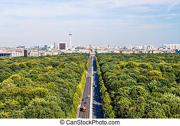 berlin panorama, tiergarten, tv tower, brandenburger tor