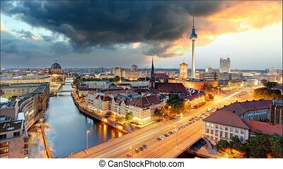 Berlin panorama - Time lapse at sunset, Germany