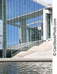 Berlin Parliament Building - Man walking past a German...