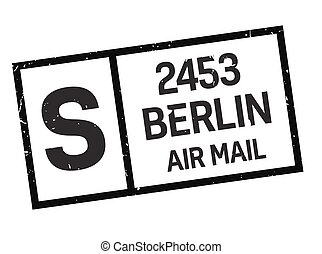 Berlin postage stamp. Realistic looking stamp with city...