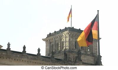 Berlin Reichstag Flag - German Reichstag in Berlin with...