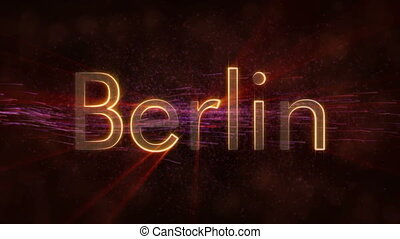 Berlin - Shiny looping city name in Germany, text animation...