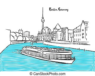Berlin sightseeing panorama sketch. Cityscape wit television...