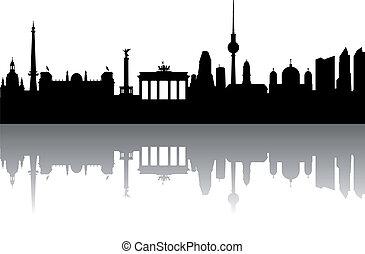 berlin, silhouette, abstrakt