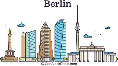 Berlin silhouette skyline panorama, city landscape vector illustration