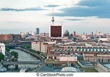 Berlin skyline at sunset
