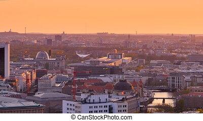 berlin skyline at the sunset